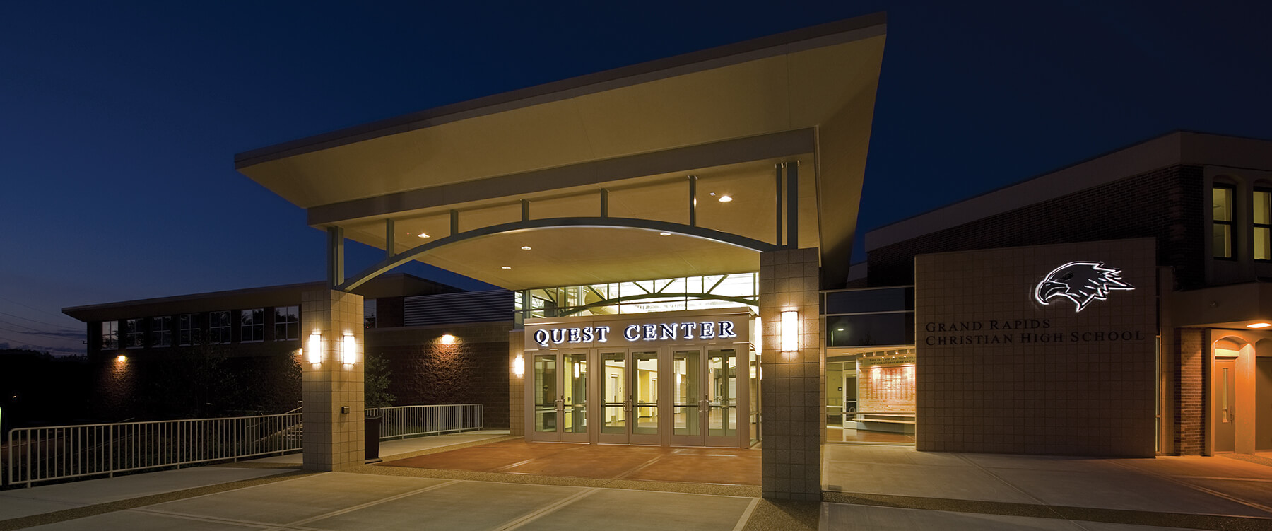 GRCHS Quest Center at dusk