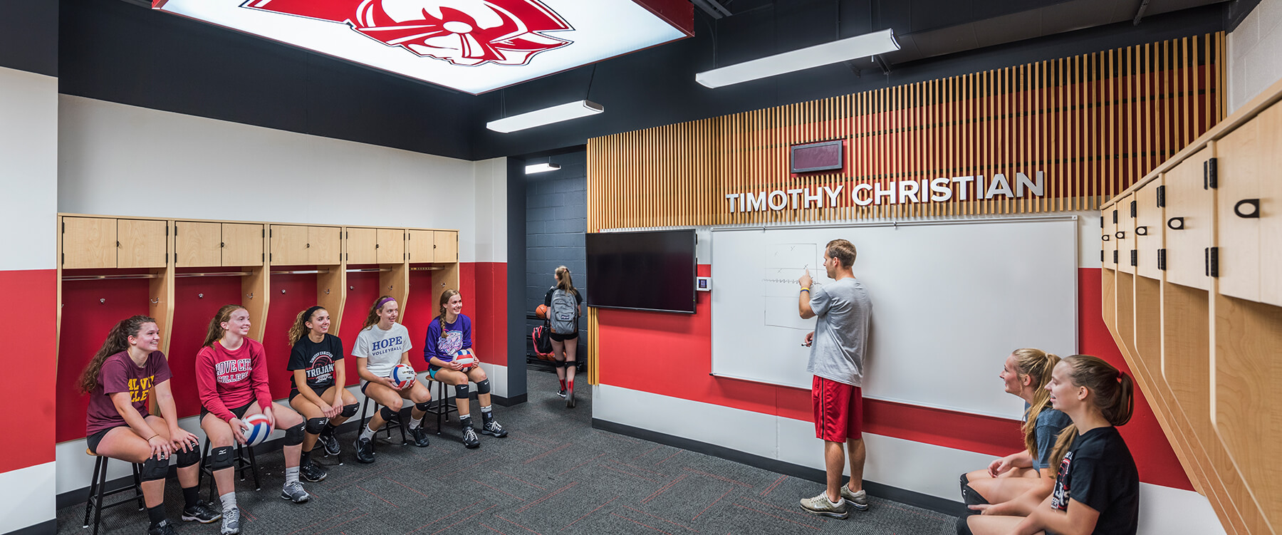 Timothy Christian Middle School Locker room team meeting