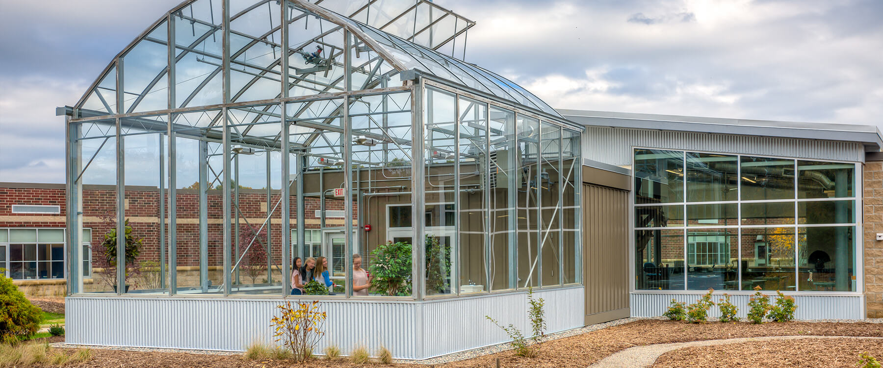 Ada Christian Integrated Outdoor Education greenhouse exterior