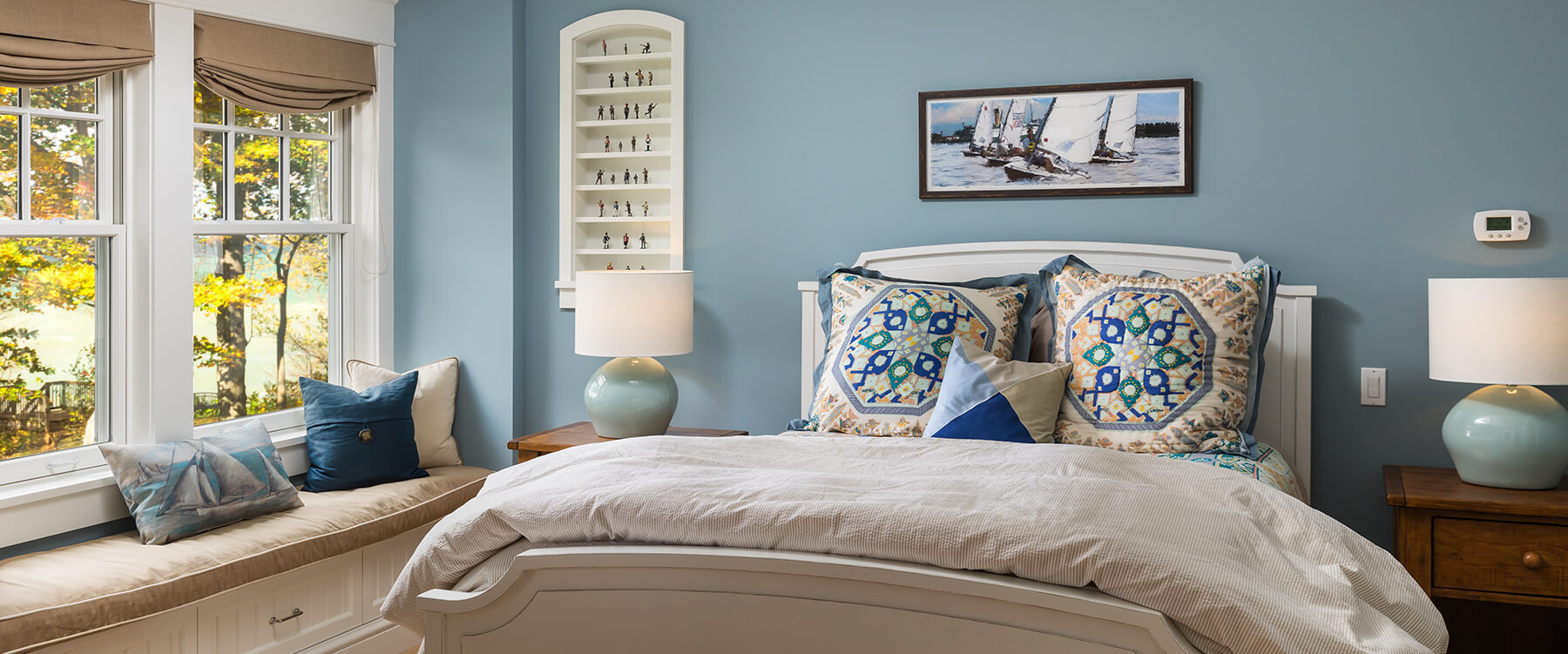 bedroom at shingle style cottage