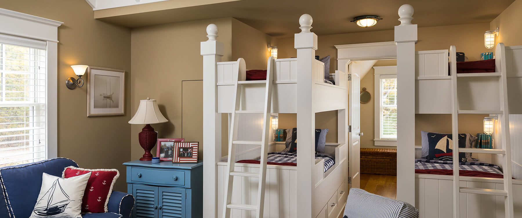 kids bunk bed room at shingle style cottage