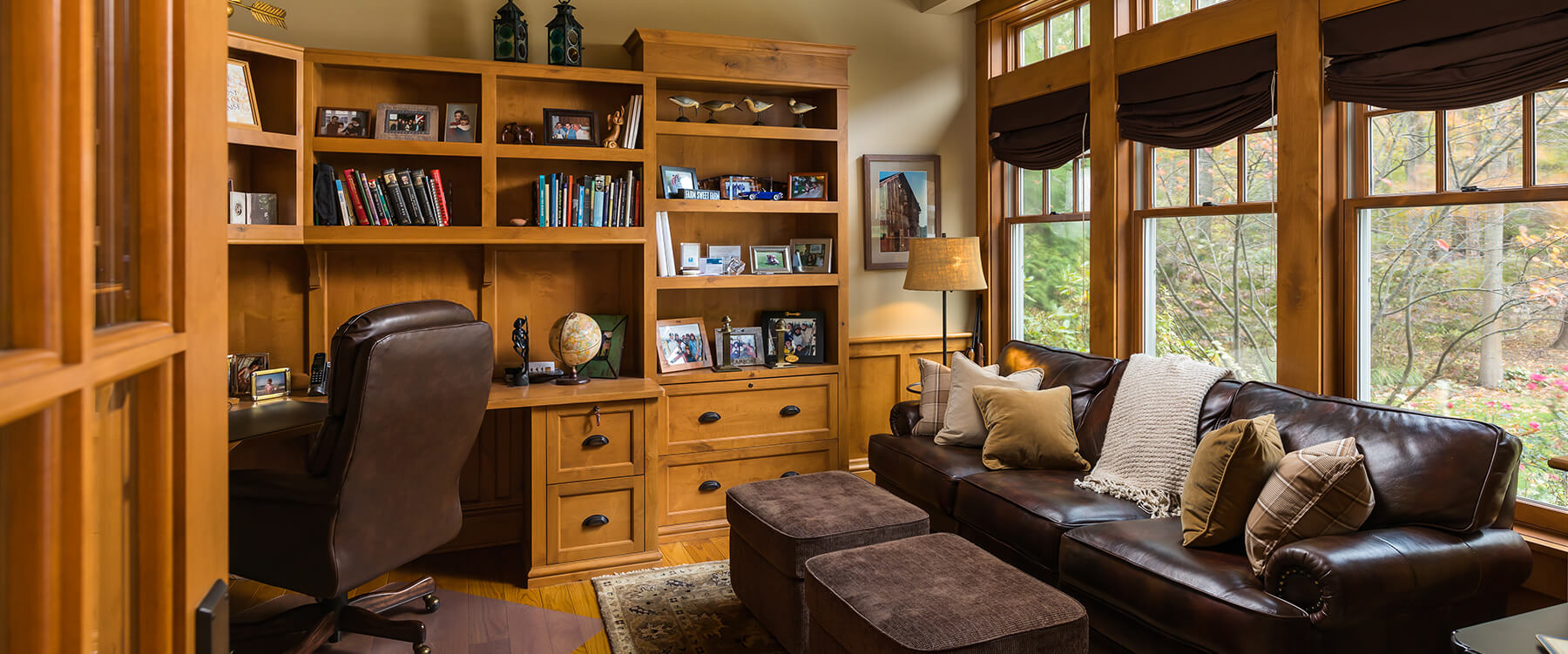 office at shingle style cottage