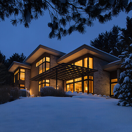 contemporary MI Home winter exterior